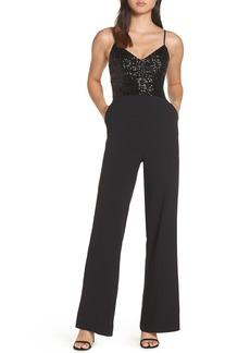 Eliza J Sequin Embellished Jumpsuit (Regular & Petite)