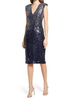 Eliza J Sequin Extended Shoulder V-Neck Sheath Dress