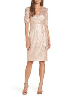 Eliza J Sequin Faux Wrap Dress (Regular & Petite)