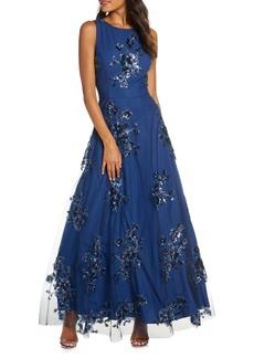 Eliza J Sequin Floral Mesh Gown