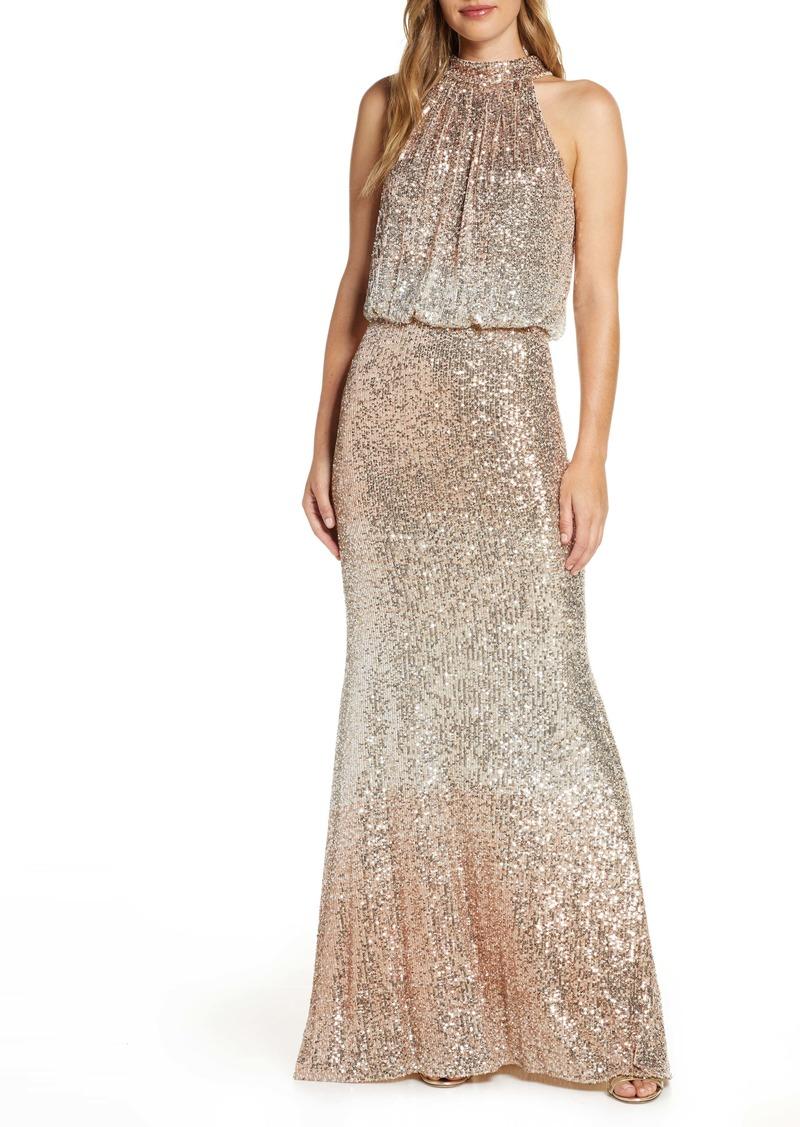 Eliza J Sequin Halter Neck Blouson Evening Gown