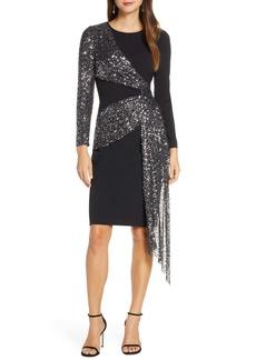Eliza J Sequin Sash Long Sleeve Scuba Crepe Cocktail Dress