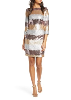 Eliza J Sequin Stripe Cocktail Dress