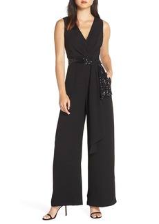 Eliza J Sequin Wrap Detail Jumpsuit (Regular & Petite)