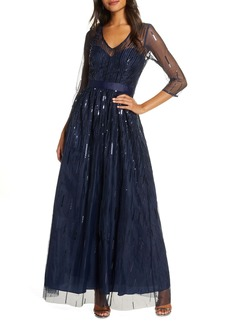 Eliza J Sequined Illusion Mesh Evening Gown