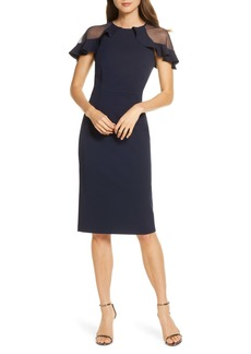 Eliza J Sheer Ruffle Shoulder Cocktail Dress