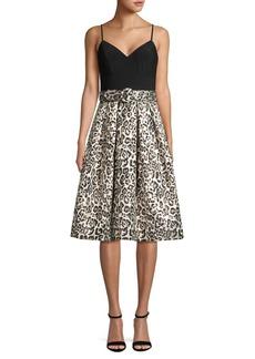 Eliza J Sleeveless Leopard-Printed Dress