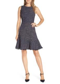 Eliza J Sleeveless Tweed Fit & Flare Dress (Regular & Petite)