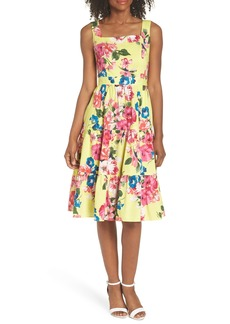 Eliza J Square Neck Floral Tiered Fit & Flare Midi Dress