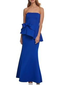 Eliza J Strapless Peplum Waist Mermaid Gown