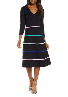 Eliza J Stripe V-Neck Sweater Dress
