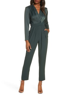 Eliza J Surplice Long Sleeve Jumpsuit