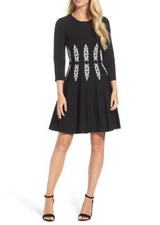 Eliza J Three-Quarter Sleeve Fit & Flare Dress