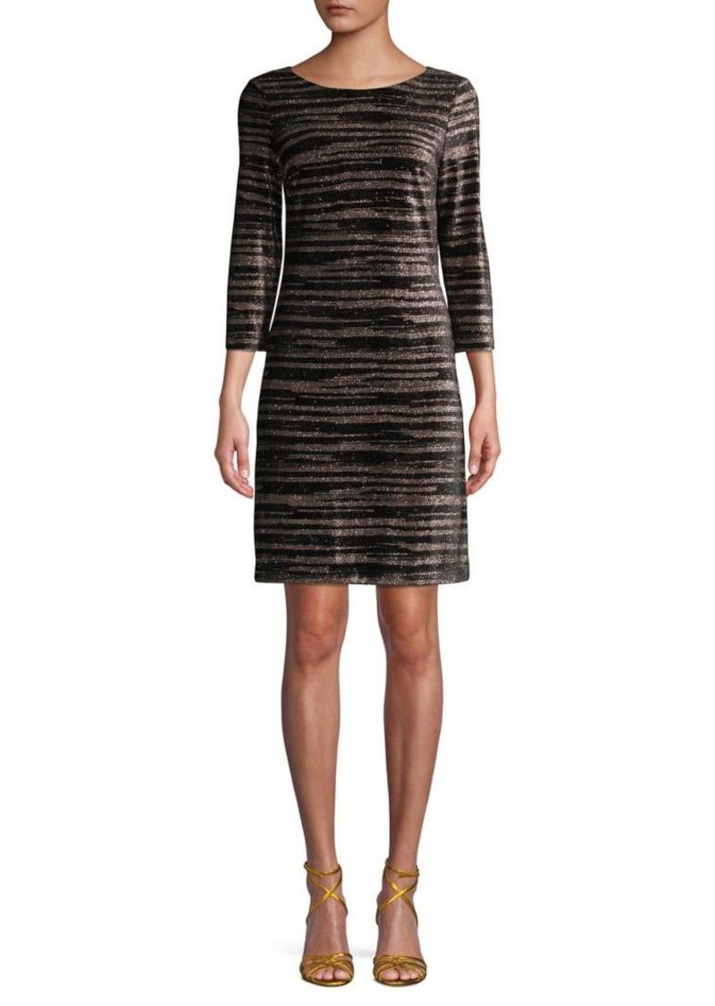 Eliza J Three-Quarter Sleeve Striped Shift Dress