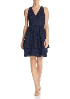 Eliza J Tiered Lace Dress