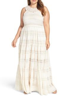 Eliza J Tiered Lace Maxi Dress (Plus Size)