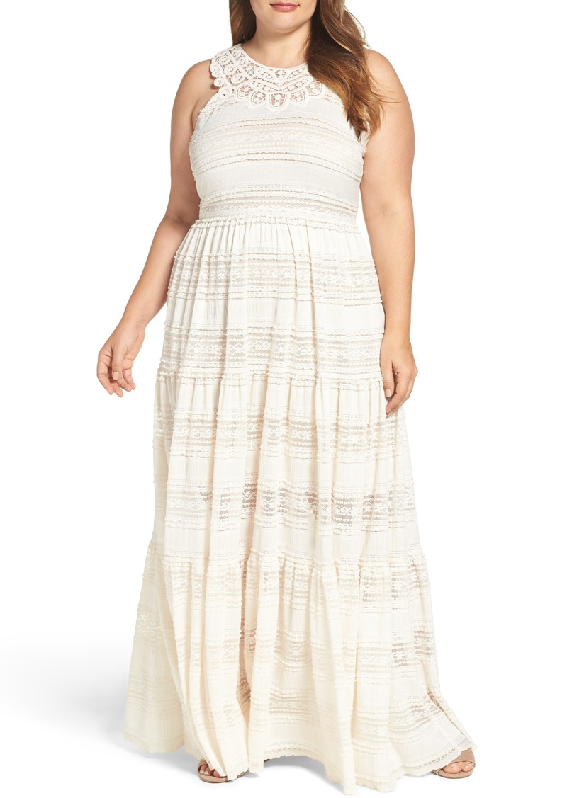Eliza J Eliza J Tiered Lace Maxi Dress (Plus Size) | Dresses