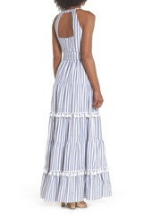 6f0443357e9 Eliza J Tiered Tassel Fringe Cotton Maxi Dress (Regular   Petite) ...