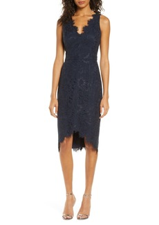 Eliza J Tulip Hem Lace Cocktail Dress