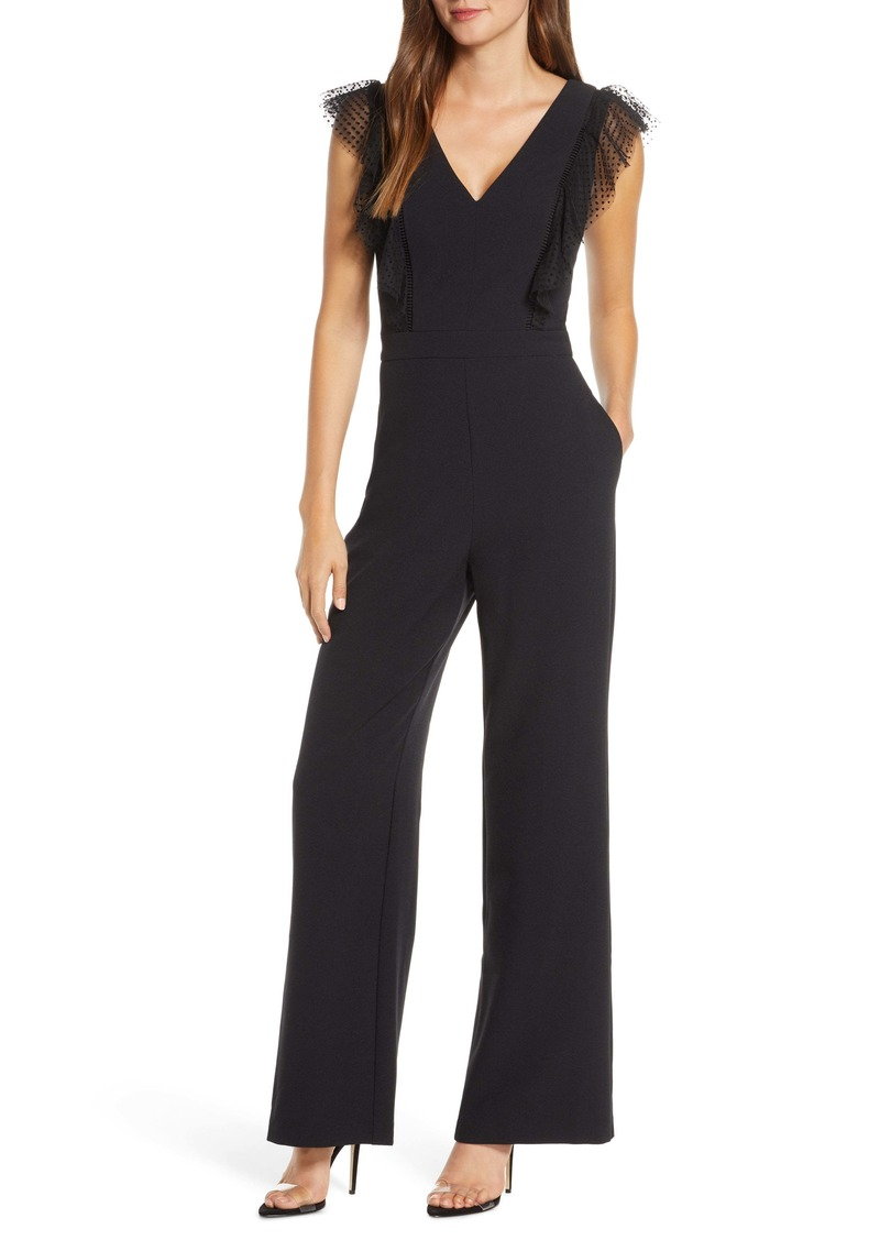 Eliza J Tulle Ruffle Stretch Crepe Jumpsuit