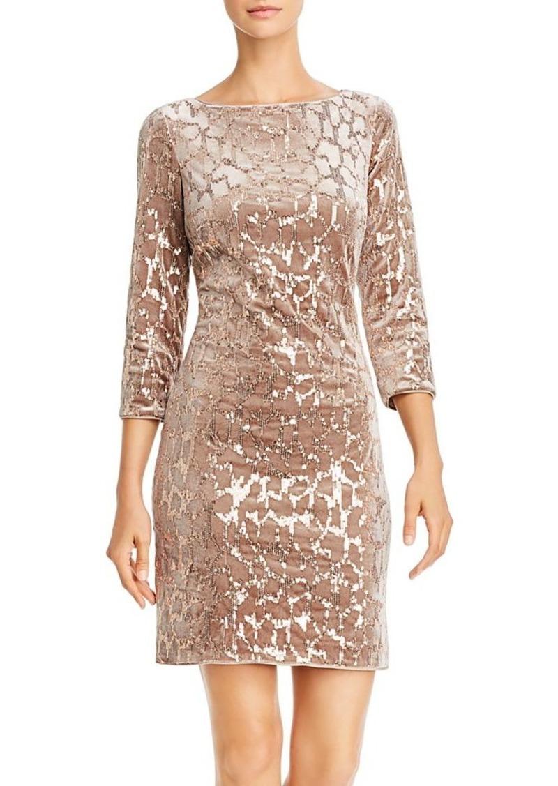 Eliza J Velvet & Sequin Sheath Dress
