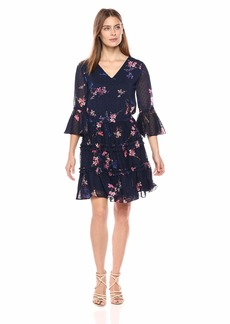 Eliza J Women's Floral Print Dress with Tiered Skirt