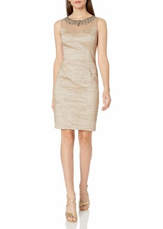 Eliza J Women's Illusion Bodice Sheath Dress and Beaded Necklace