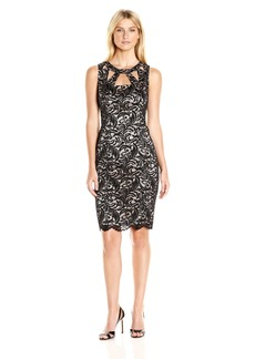 Eliza J Women's Lace Sheath Dress with Cutout Detail at Neckline
