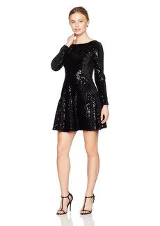 Eliza J Women's Petite Long Sleeve Velvet and Sequin Dress (Regular)  8P