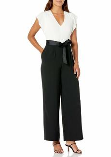 Eliza J Women's Petite Short Sleeve Two-Tone Jumpsuit  4P
