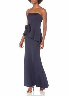 Eliza J Women's Scuba Strapless Peplum Gown with Waist Bow