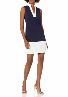 Eliza J Women's Sleeveless Framed Split Mandarin Collar Shift Dress
