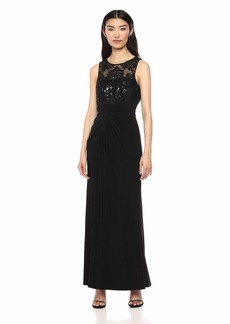 Eliza J Women's Sleeveless Gown with lace Top and Front Drape