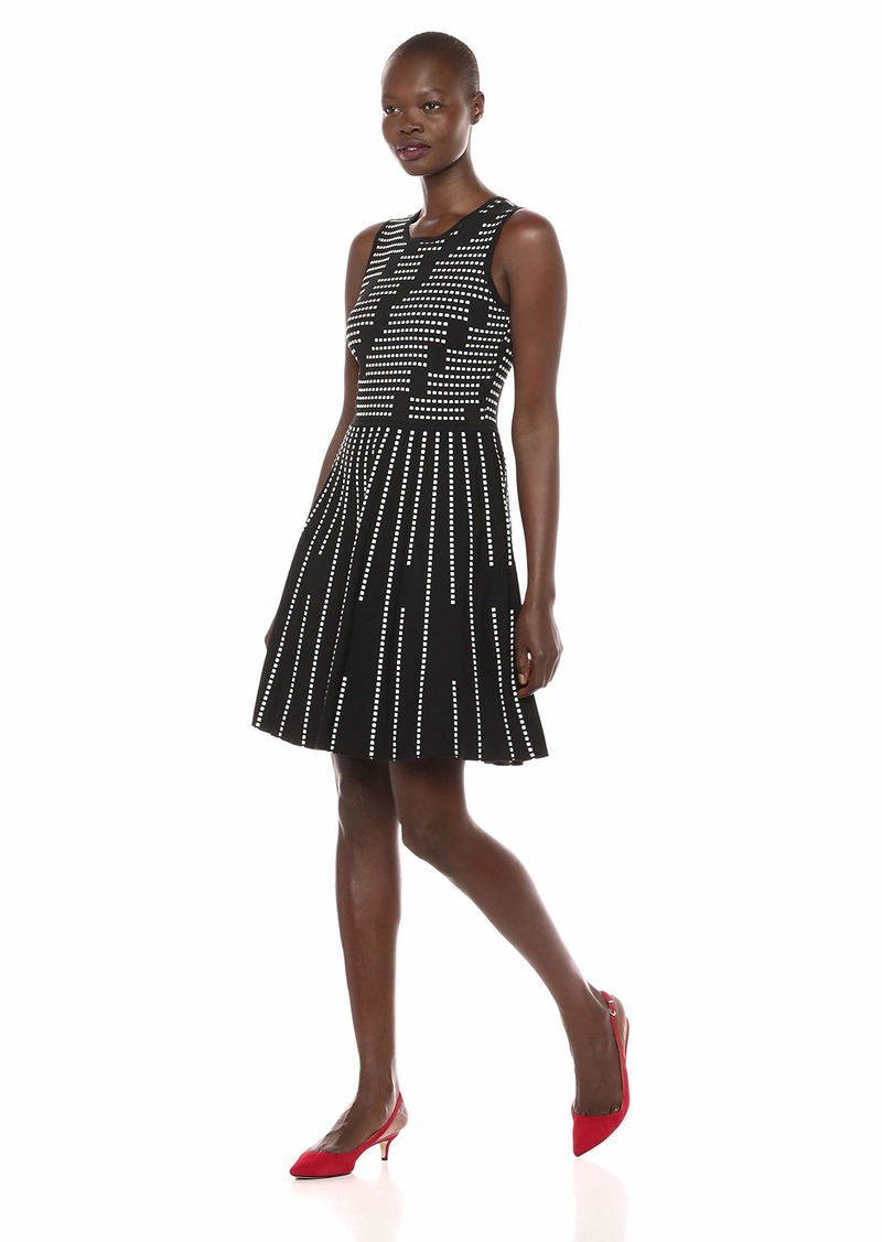 7f336200fbe3c Women's Sleeveless Jacquard Fit and Flare Dress L