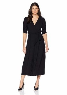 Eliza J Women's Wide Leg Jumpsuit with Ruched Sleeves