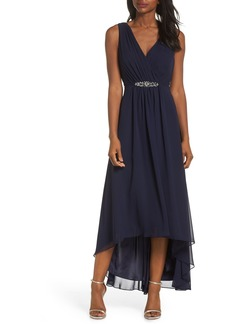Eliza J Embellished High/Low Chiffon Dress (Regular & Petite)