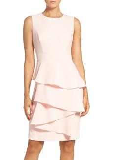 6d4fe034120 Eliza J Ella Ruffle Cascade Crepe Sheath Dress