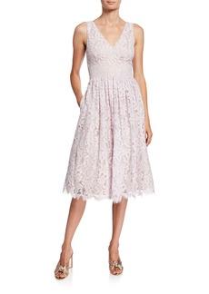 Eliza J Eyelash Lace Double V Midi Dress