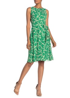 Eliza J Floral Pleated Neck Belted Dress