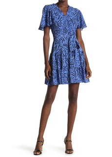 Eliza J Flutter Sleeve Patterned Fit & Flare Dress