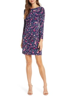 Eliza J Long Sleeve Floral Faux Wrap Dress