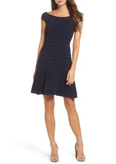 Eliza J Off the Shoulder Fit & Flare Sweater Dress