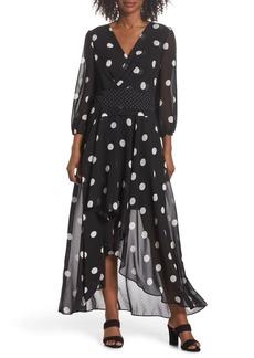 Eliza J Polka Dot Chiffon Maxi Dress