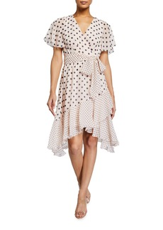 Eliza J Polka Dot Faux Wrap Dress