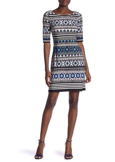 Eliza J Printed Boatneck Elbow Sleeve Dress