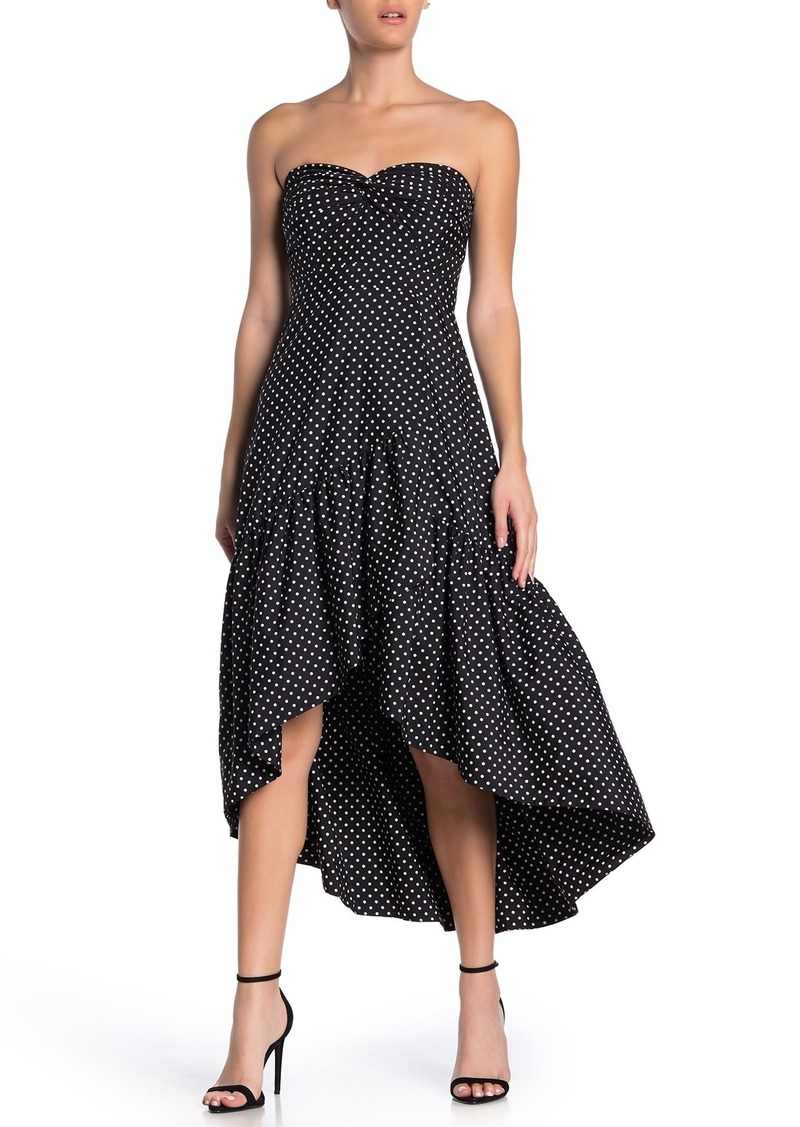 Eliza J Polka Dot Strapless High/Low Cocktail Dress