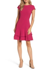 Eliza J Stretch Ruffle Crepe Sheath Minidress (Petite)