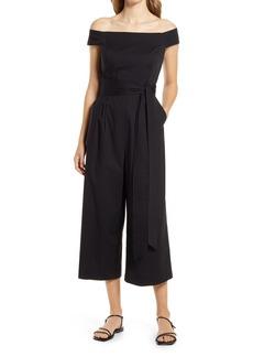 Women's Eliza J Off The Shoulder Crop Cotton Jumpsuit