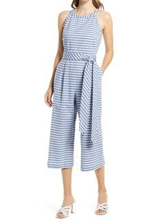Women's Eliza J Stripe Halter Neck Crop Cotton Jumpsuit