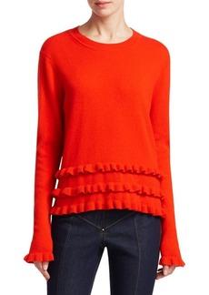 Cinq a Sept Adiella Ruffled Cashmere Sweater
